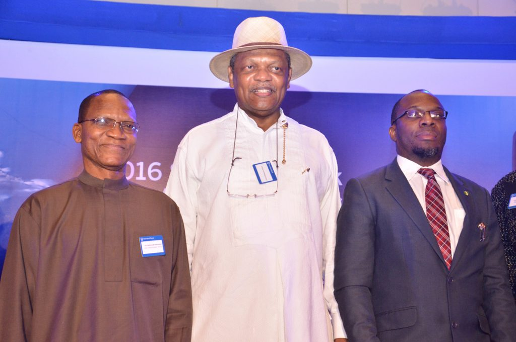 L-R: Director-General, Debt Management Office, Dr Abraham Nwankwo; Chairman, Stanbic IBTC, Atedo Peterside; and Statistician General of the Federation/CEO, National Bureau of Statistics, Dr Yemi Kale, at the 7th edition of Standard Bank West Africa Investors' Conference, held at Eko Hotels and Suites, Lagos on Tuesday (23/2/2016)