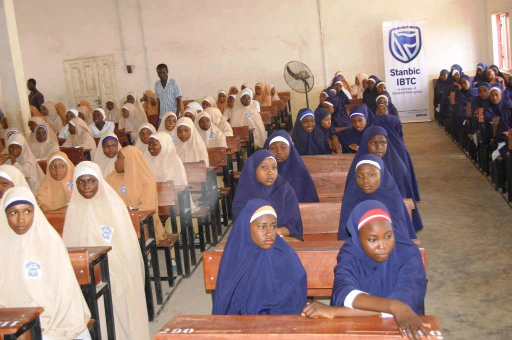 Cross section of students of Government Girls Secondary School, Maimuna Gwarzo, Tudun Wada, Kaduna State during an event organised by Stanbic IBTC to mark the 2016 Financial Literacy Day at GGSS Kaduna on Thursday, 17 March, 2016.