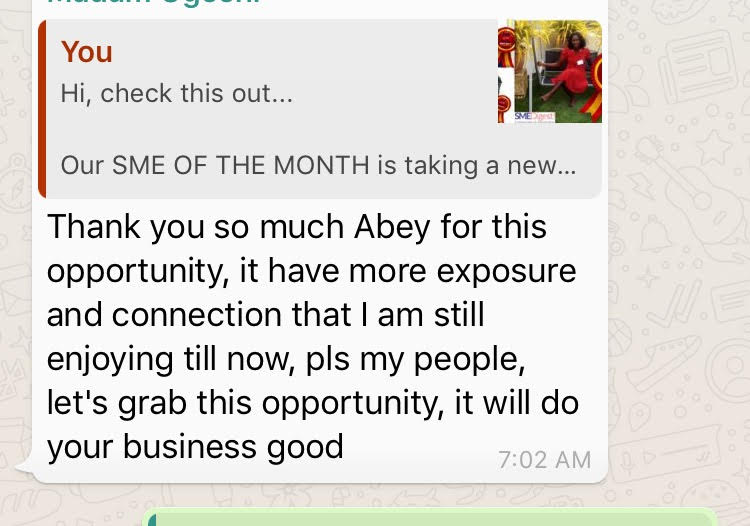 SME of the month testimonial