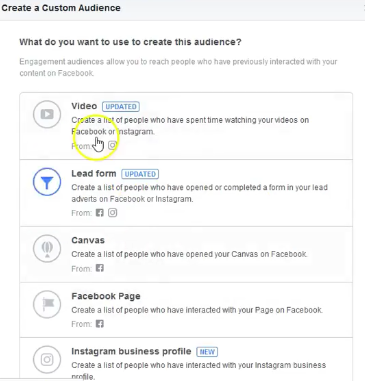 facebook re-targeting ad - choose engagement