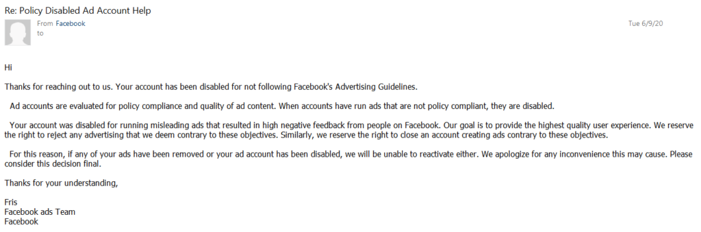 facebook policy disabled ad account mail