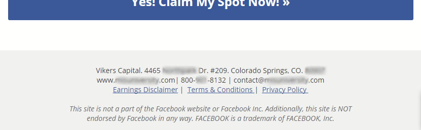 landing page footer content facebook ad