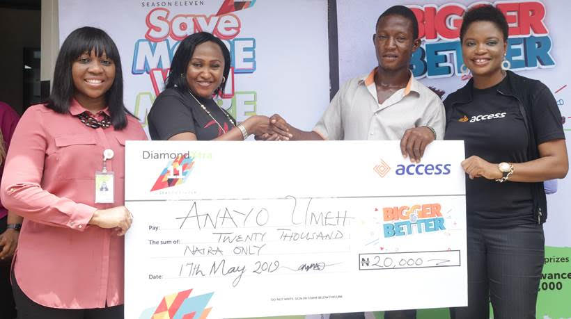 L – R : Iyabo Olumide-Olorunisola, Area Sales Manager; Bridget Barth-Ekeogu, Regional Sales Manager, all of Access Bank Plc, Lagos island;  Anayo Umeh, DiamondXtra Targeted Draw winner; and Esosa Biremo, Product Manager, DiamondXtra during the DiamondXtra cheque presentation ceremony held in Lagos island recently.