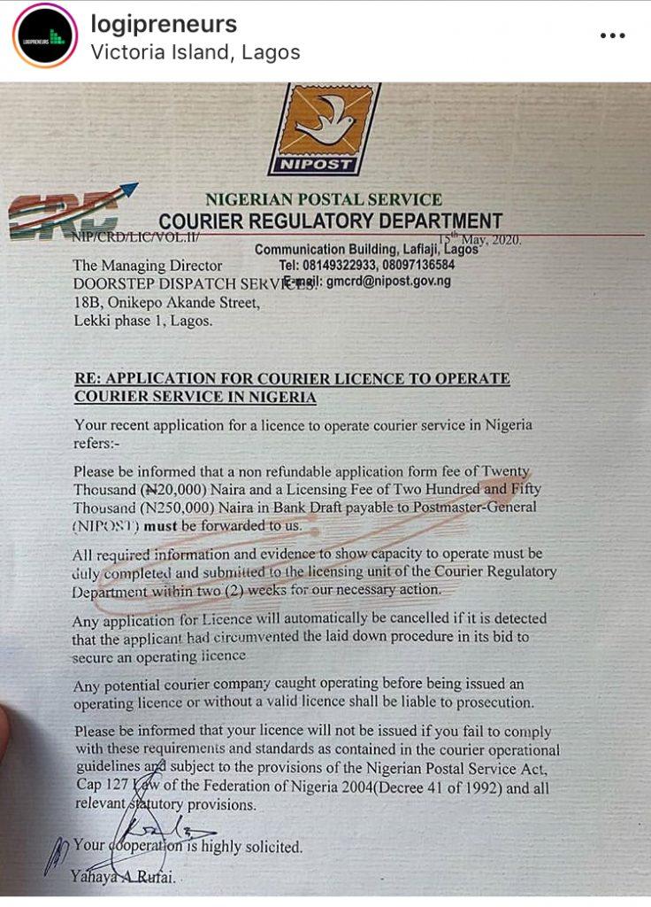 Nipost regulation logistics company Nigeria