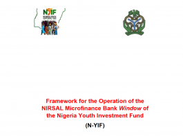 Framework for the operation of the NIRSAL Microfinance Bank Window of the Nigeria Youth Investment Fund